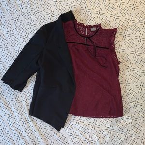 Beautiful Lace NY&C Burgundy Top *Only*